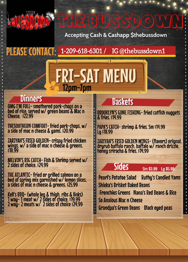 Friday and Saturday Menu - Dinners, Baskets, & Sides