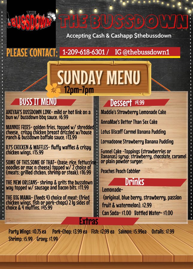Sunday Menu - Bussit, Desserts, & Drinks