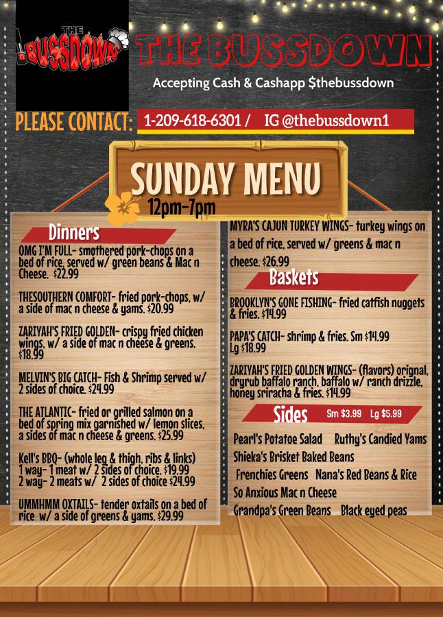 Sunday Menu - Dinners, Baskets, & Sides